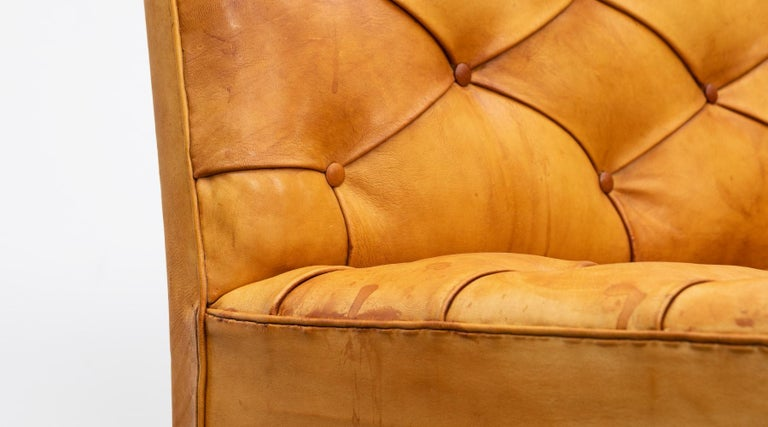 1970s Cognac Leather and Mahogany Pair of Sofa Units by Kaare Klint For Sale 6