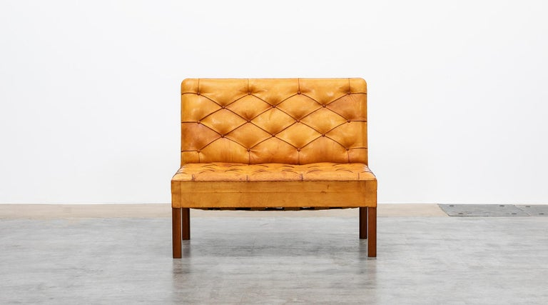 Danish 1970s Cognac Leather and Mahogany Pair of Sofa Units by Kaare Klint For Sale