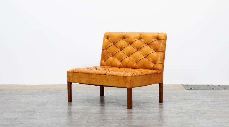 Lacquered 1970s Cognac Leather and Mahogany Pair of Sofa Units by Kaare Klint For Sale