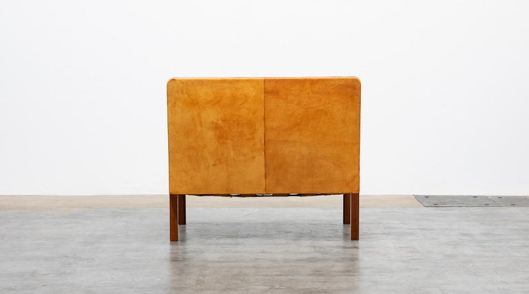1970s Cognac Leather and Mahogany Pair of Sofa Units by Kaare Klint For Sale 1