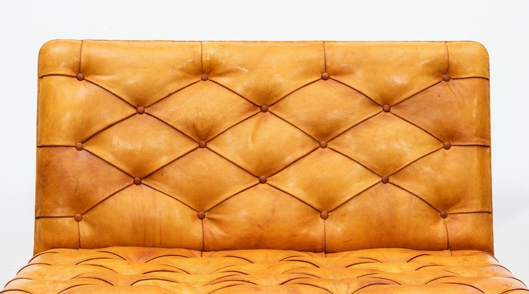 1970s Cognac Leather and Mahogany Pair of Sofa Units by Kaare Klint For Sale 2