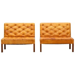 1970s Cognac Leather and Mahogany Pair of Sofa Units by Kaare Klint
