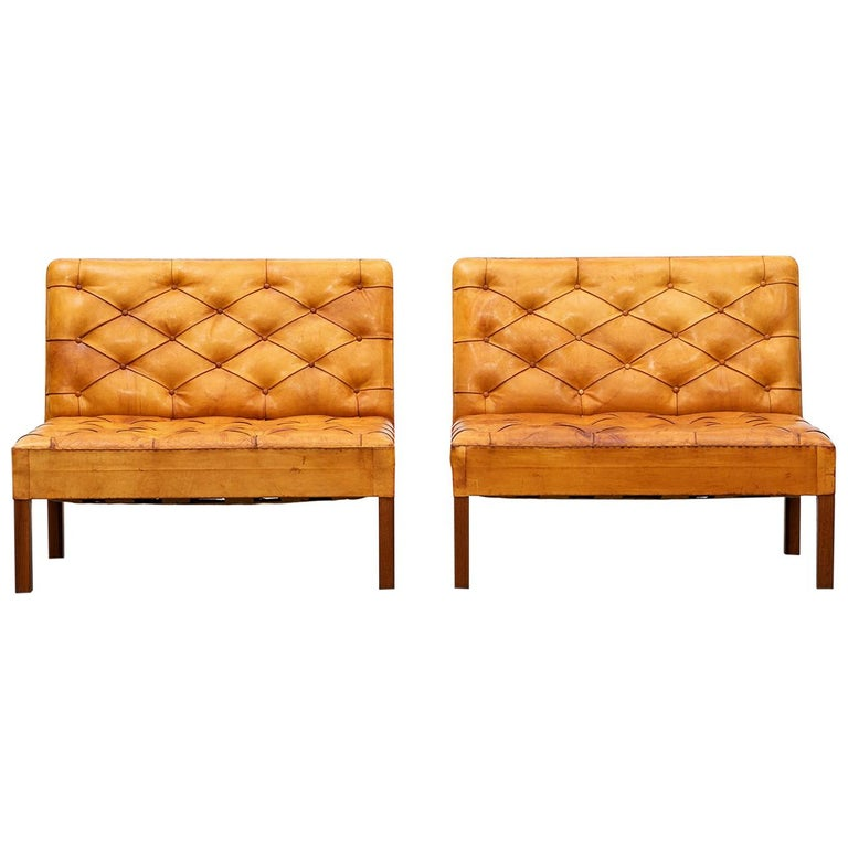 1970s Cognac Leather and Mahogany Pair of Sofa Units by Kaare Klint For Sale