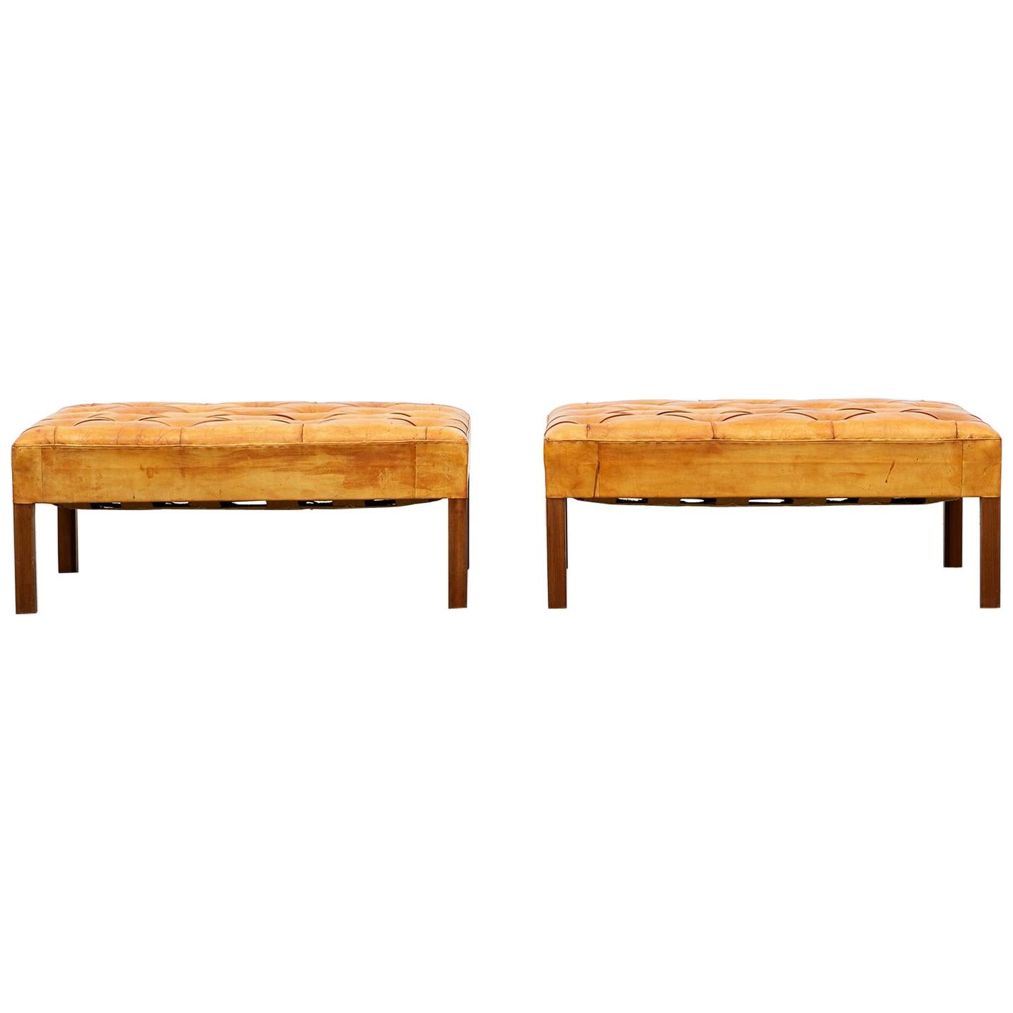 1970s Cognac Leather and Mahogany Pair of Stools by Kaare Klint