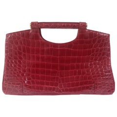 1970s Colombo Red crocodile handbag