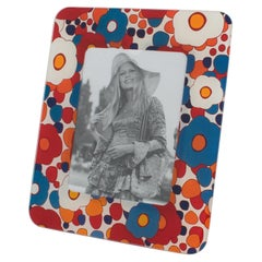 1970s Colorful Flowers Glass Picture Frame