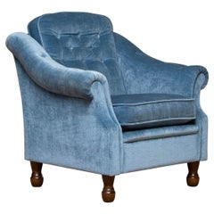 1970's Comfortable Hollywood Regency Lounge Chair with Ice Blue Velvet