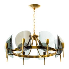 1970's Concave Smoked Lucite Disc Chandelier