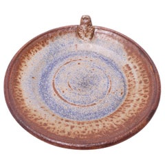 1970s Concentric Circle Stoneware Charger in Blue and Brown