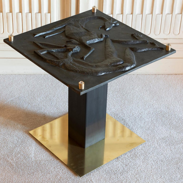 1970s Concrete Low Relief Belgian Side Table, Brass and Steel Base, Glass top For Sale 5