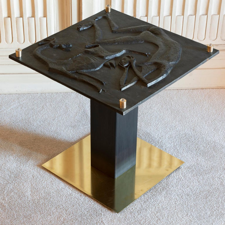 Late 20th Century 1970s Concrete Low Relief Belgian Side Table, Brass and Steel Base, Glass top For Sale