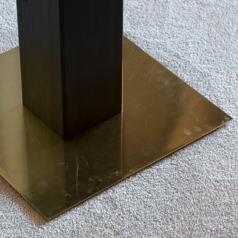 1970s Concrete Low Relief Belgian Side Table, Brass and Steel Base, Glass top For Sale 1