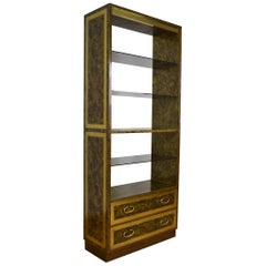 1970s Copper and Brass étagère, Bookcase, Room Divider with Glass Shelves