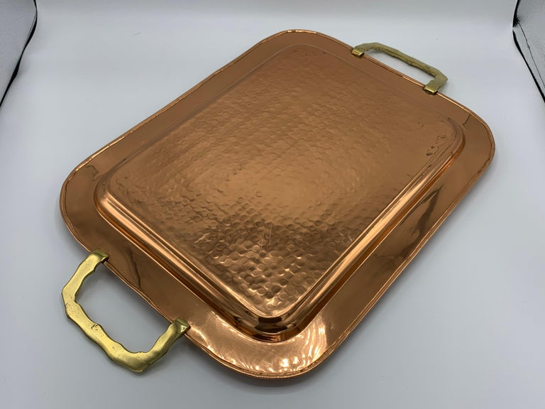 1970s Copper and Brass Tray with Faux Bamboo Handles For Sale 2