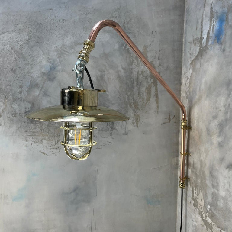 1970s Copper & Brass Cantilever Explosion Proof Pendant Lamp with Cage and Shade For Sale 5