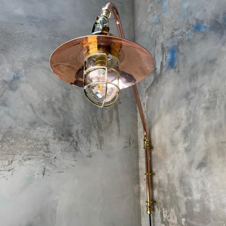 1970s Copper & Brass Cantilever Explosion Proof Pendant Lamp with Cage and Shade For Sale 8