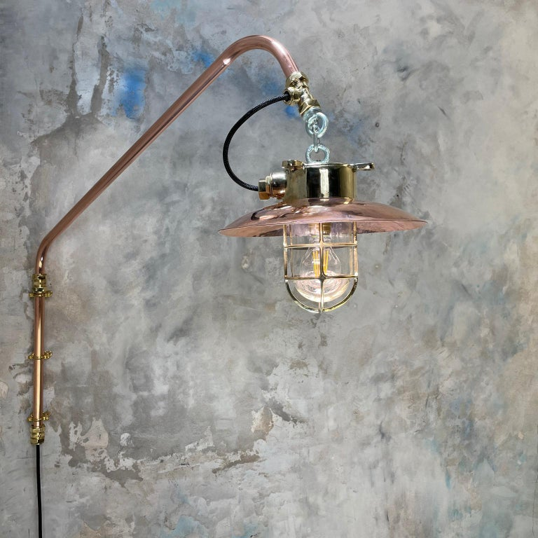 1970s Copper & Brass Cantilever Explosion Proof Pendant Lamp with Cage and Shade For Sale 11