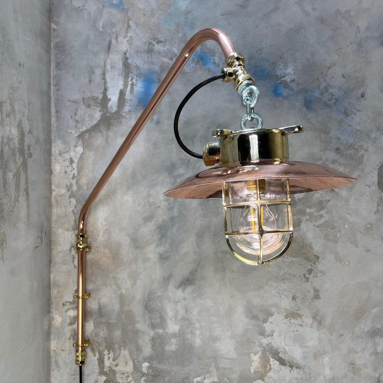 Japanese 1970s Copper & Brass Cantilever Explosion Proof Pendant Lamp with Cage and Shade For Sale