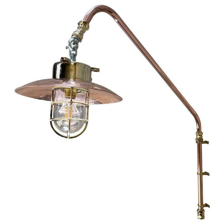 1970s Copper & Brass Cantilever Explosion Proof Pendant Lamp with Cage and Shade For Sale