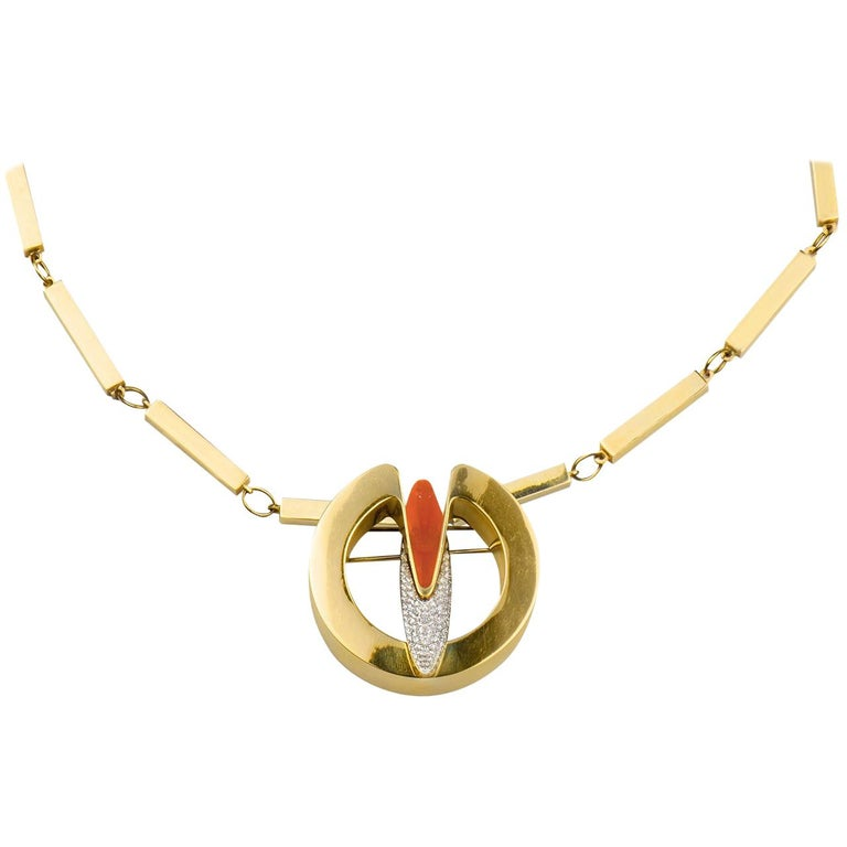 1970s Coral and Diamond Comet Necklace For Sale