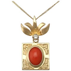 1970s Coral and Diamond Yellow Gold Pendant