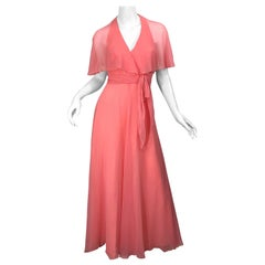 1970s Coral Pink Silk Chiffon Halter Sheer Caplet Vintage 70s Maxi Dress Gown