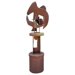 1970s Corten Steel Rotating Abstract Brutalist Sculpture by Patsy Eldridge
