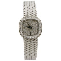 1970s Corum Diamond 18 Karat Gold Mesh Bracelet Ladies Watch #14234.69P57