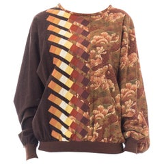 1970S Brown Cotton Geometric Patchwork Asian Printed Pullover Top