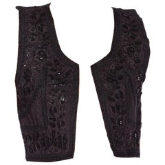 1970S Cotton Black Sequined And Embroidered Boho  Vest