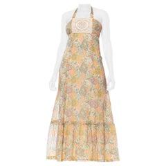 1970S Cotton Blend Voile Boho Victorian Paisley & Lace Dress