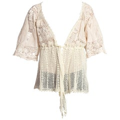 1970S Cotton Crochet Embroidered Top