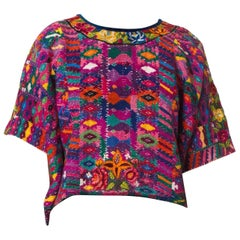 1970S  Purple & Blue Cotton Hand Embroidered Peruvian Top