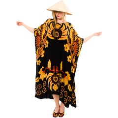 1970S Cotton  Large Scale Polynesian Print Beach Cover Up Kaftan