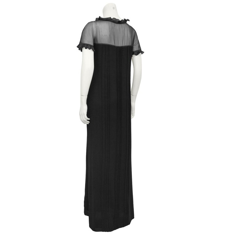1970s Courreges Black Chiffon and Wool Gown In Good Condition For Sale In Toronto, Ontario