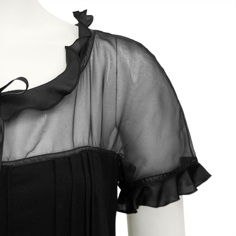 1970s Courreges Black Chiffon and Wool Gown For Sale 1