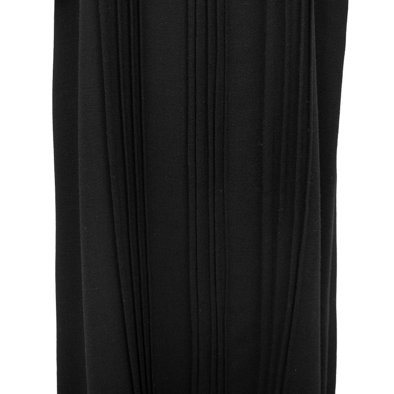 1970s Courreges Black Chiffon and Wool Gown For Sale 2