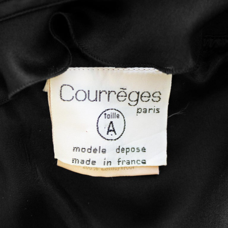 1970s Courreges Black Chiffon and Wool Gown For Sale 3
