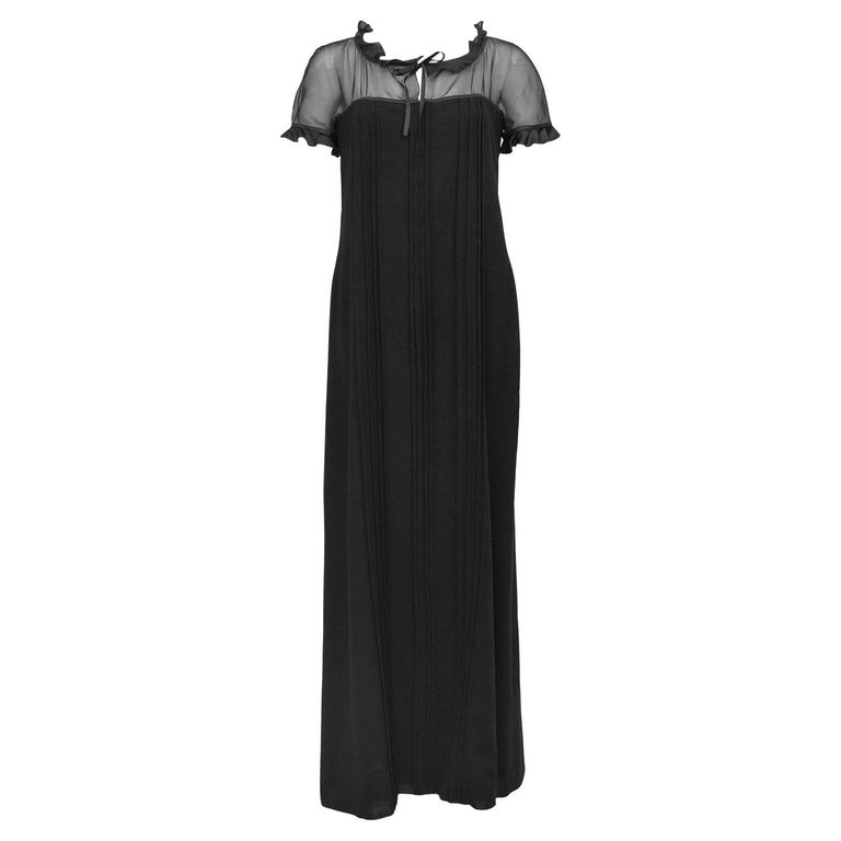 1970s Courreges Black Chiffon and Wool Gown For Sale