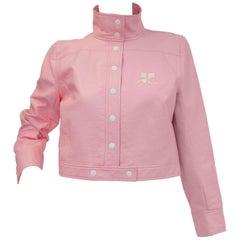 1970s Courreges Bubblegum Pink Vinyl Mod Jacket
