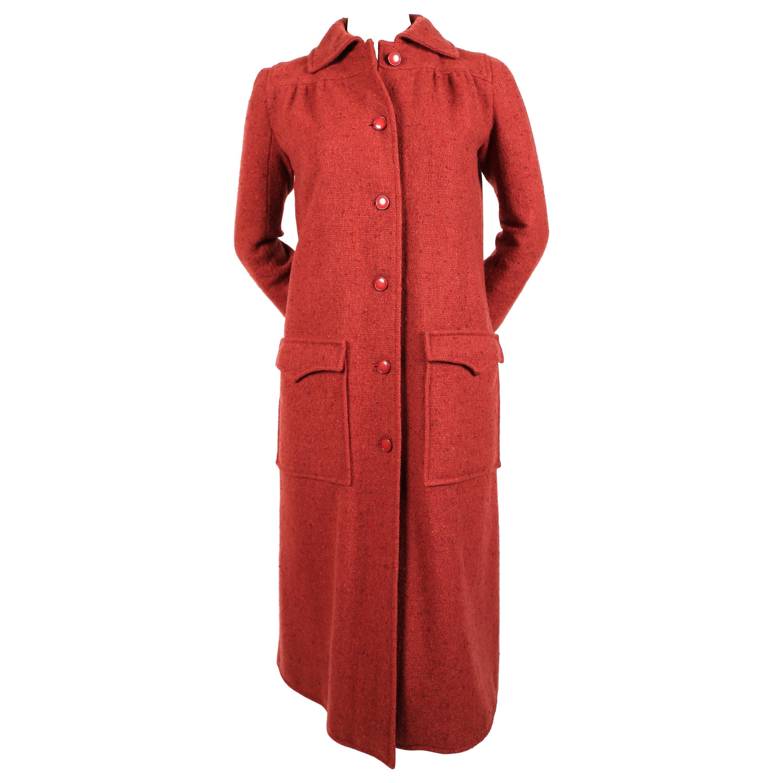 1970's COURREGES raspberry tweed wool coat