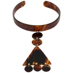 1970s Courreges Style Tortoiseshell Celluloid Collar Necklace