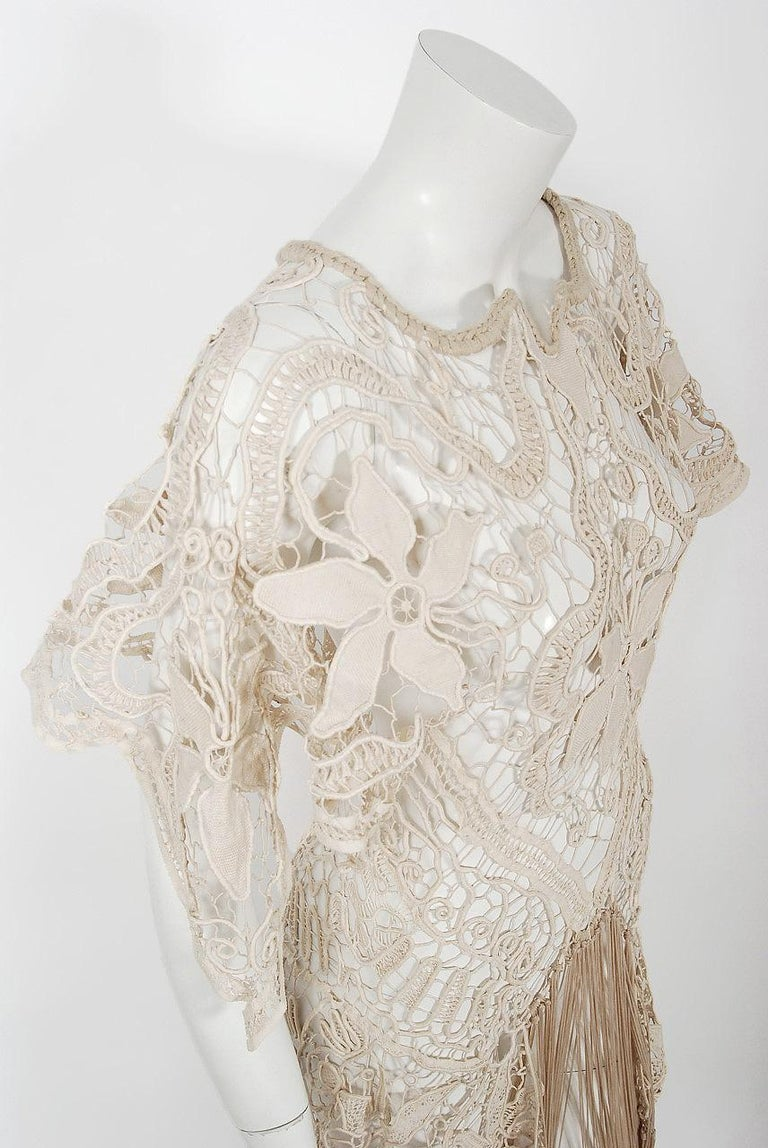 1970's Couture Beige Lace Floral Motif Winged Sleeve Bias-Cut Fringe Sheer Gown In Excellent Condition For Sale In Beverly Hills, CA
