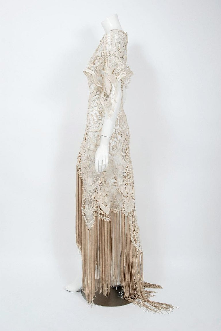 1970's Couture Beige Lace Floral Motif Winged Sleeve Bias-Cut Fringe Sheer Gown For Sale 1
