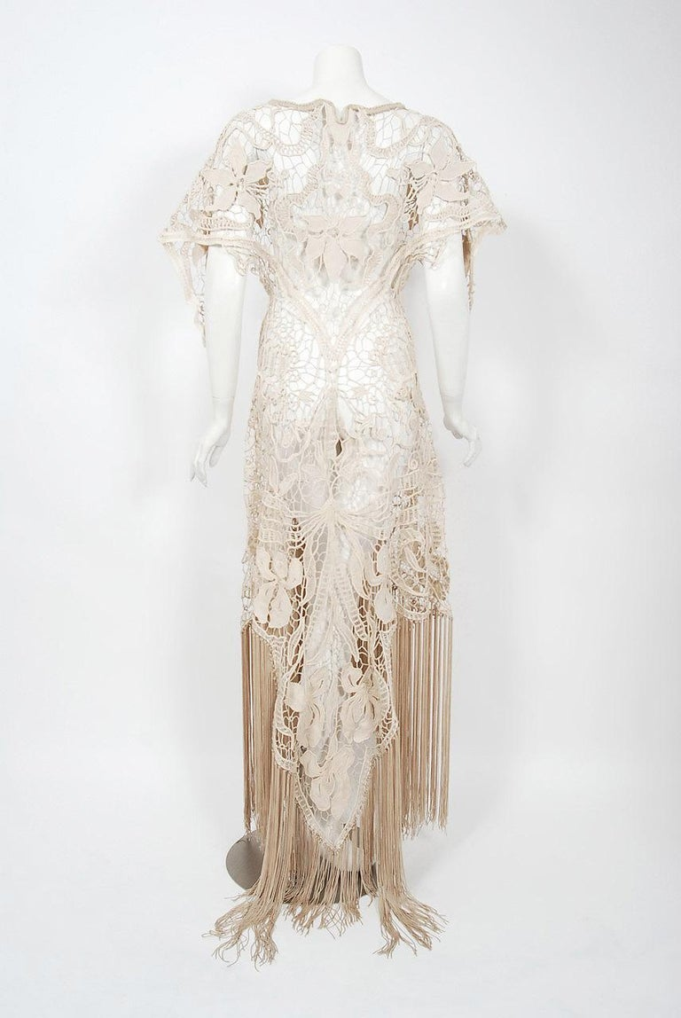 1970's Couture Beige Lace Floral Motif Winged Sleeve Bias-Cut Fringe Sheer Gown For Sale 2