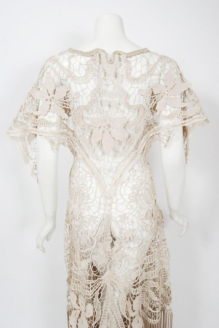1970's Couture Beige Lace Floral Motif Winged Sleeve Bias-Cut Fringe Sheer Gown For Sale 3