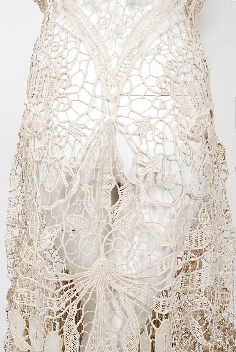 1970's Couture Beige Lace Floral Motif Winged Sleeve Bias-Cut Fringe Sheer Gown For Sale 4