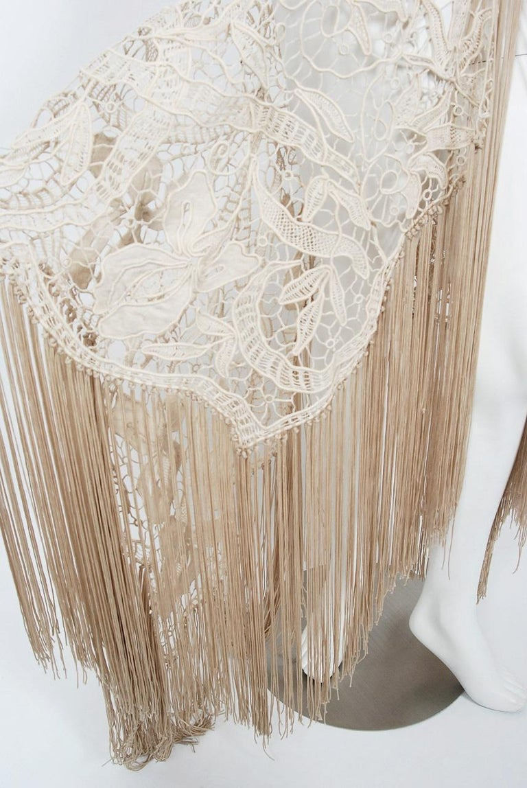 1970's Couture Beige Lace Floral Motif Winged Sleeve Bias-Cut Fringe Sheer Gown For Sale 5