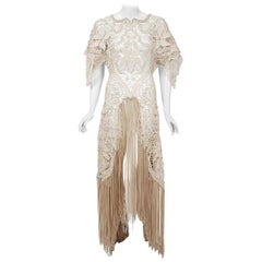 1970's Couture Beige Lace Floral Motif Winged Sleeve Bias-Cut Fringe Sheer Gown