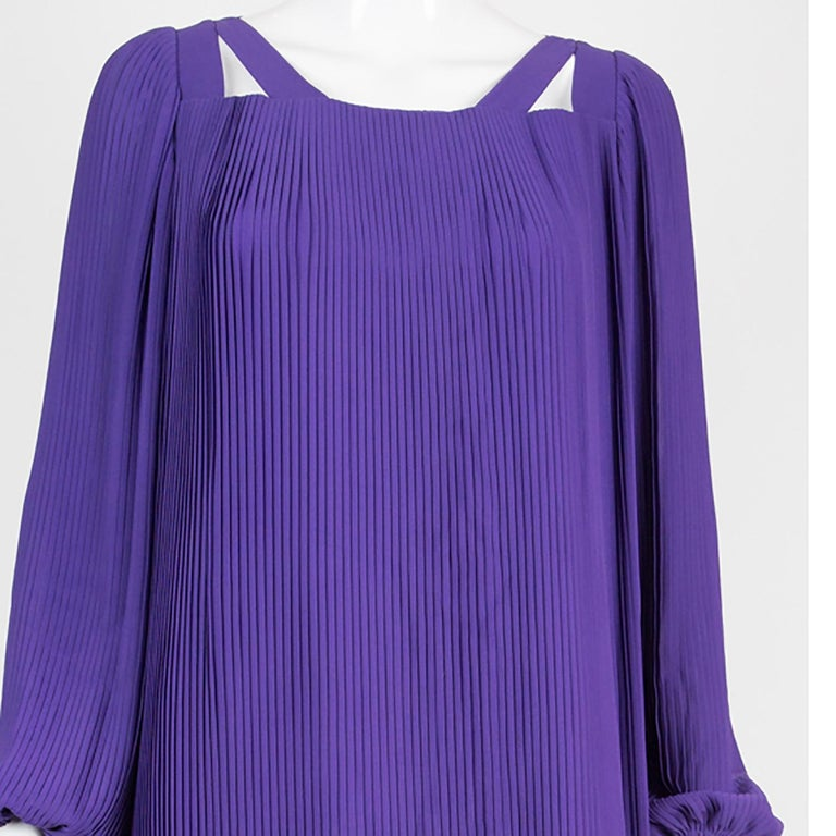 1970s Couture Philippe Venet Purple Pleated Evening Dress For Sale 1